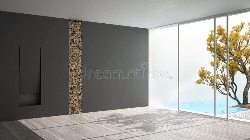 Sitio vacío con la chimenea y la ventana panorámica grande en jardín y ilustración del vector