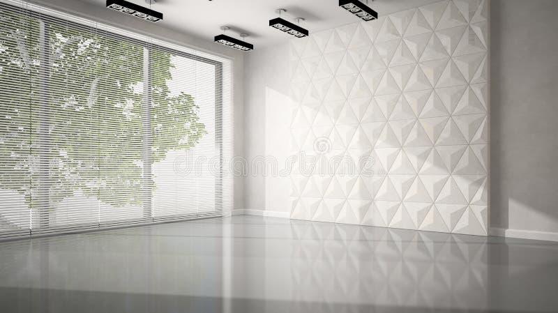 Sitio vacío con la pared blanca del panel stock de ilustración