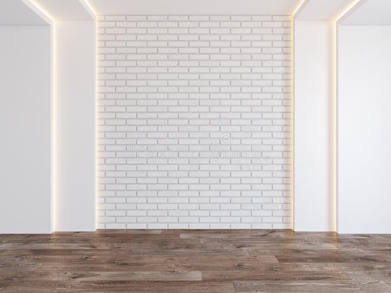 Sitio vacío con la pared de ladrillo en blanco, luz ocultada, piso de madera del entarimado ilustración del vector