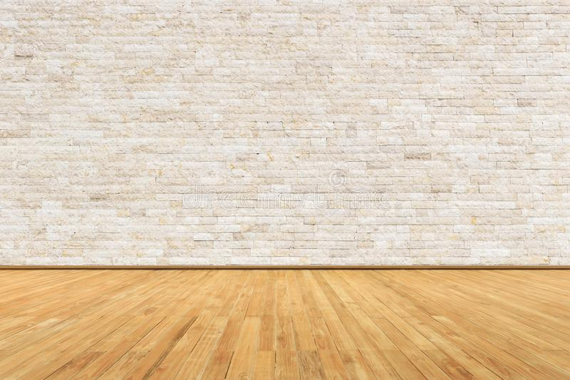 Sitio vacío con la pared y el piso de madera fotos de archivo