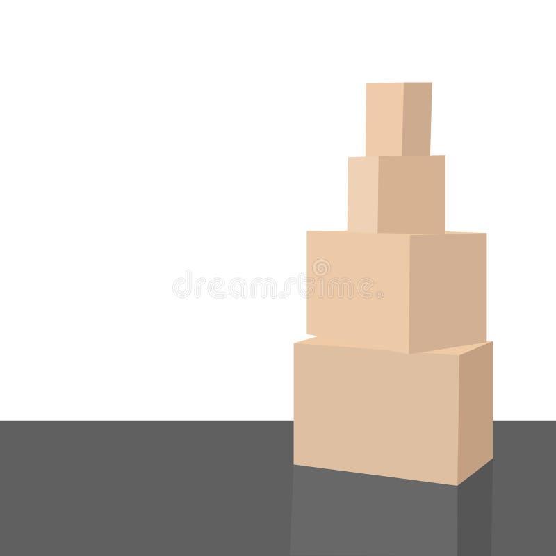 Sitio vacío con una pared blanca y cajas móviles en el ejemplo del vector del piso stock de ilustración
