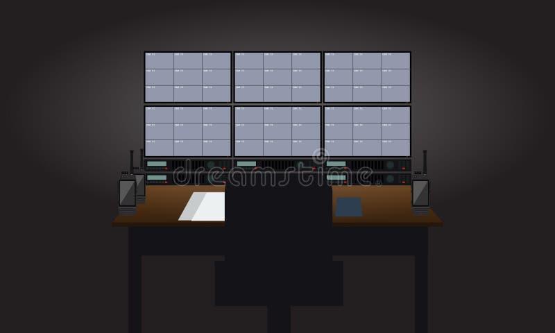 Sitio vacío de guardia de seguridad del lugar de trabajo Televisiones que muestran la opinión de las cámaras de vigilancia Ejempl libre illustration