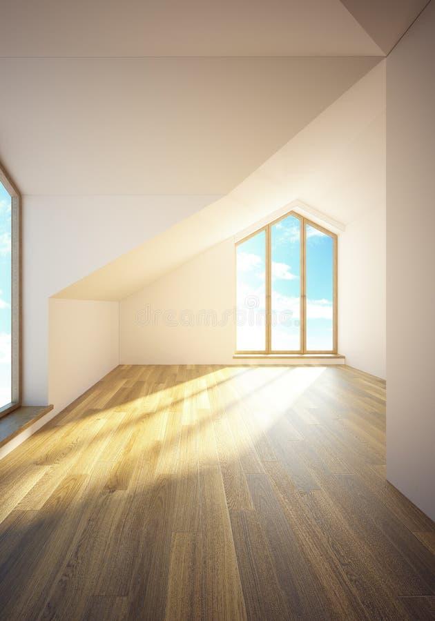 Sitio vacío de la buhardilla con las ventanas ilustración del vector
