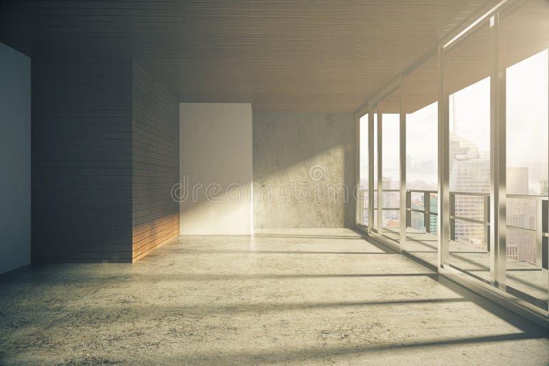 Sitio vacío del estilo moderno del desván con las ventanas en piso en la salida del sol ilustración del vector