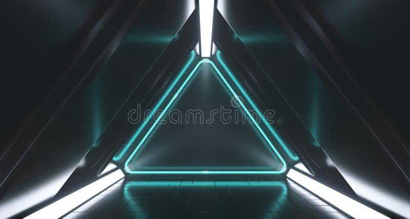 Sitio vacío del pasillo de la ciencia ficción futurista oscura del triángulo con Li de neón libre illustration