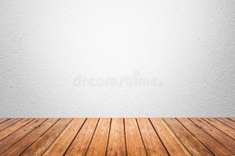 Sitio vacío del piso blanco de la pared y de madera fotos de archivo