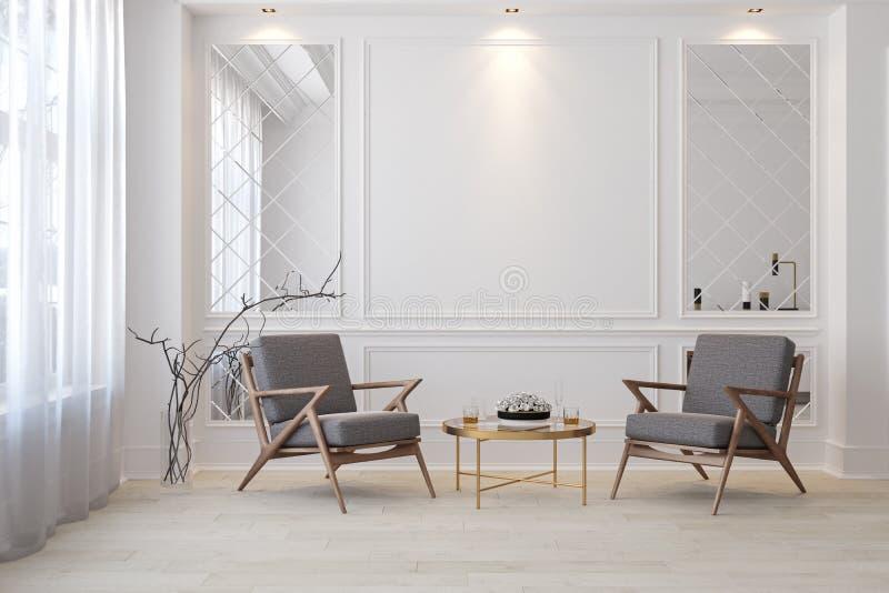 Sitio vacío interior moderno blanco clásico con las butacas del salón ilustración del vector
