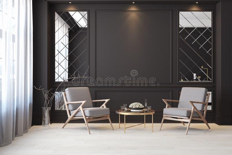 Sitio vacío interior moderno negro clásico con las butacas del salón ilustración del vector