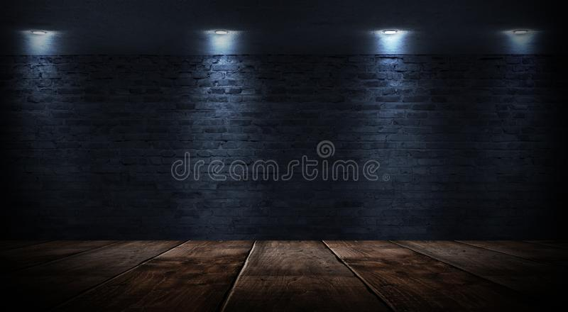 Sitio vacío oscuro con las paredes de ladrillo y las luces de neón, humo, rayos foto de archivo
