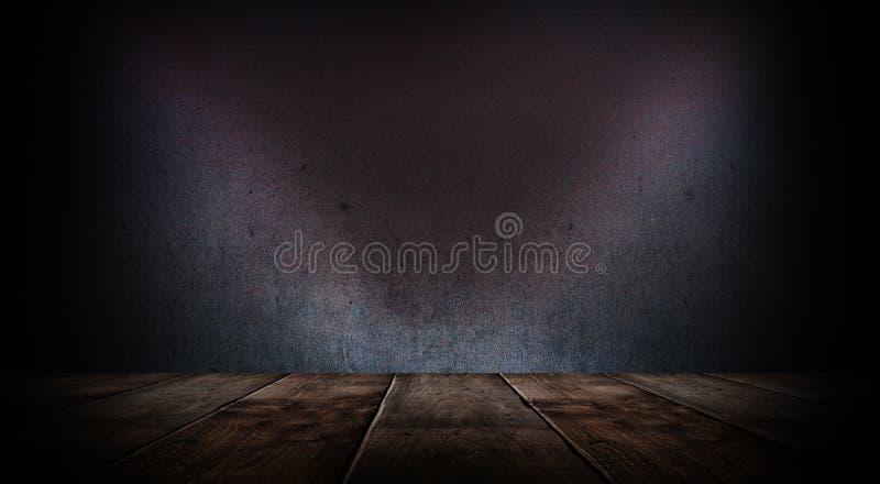 Sitio vacío oscuro con las paredes de ladrillo y las luces de neón, humo, rayos imagenes de archivo