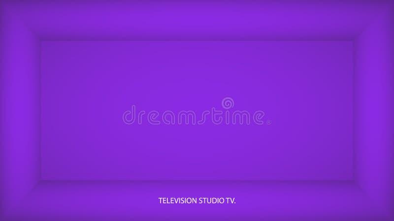 Sitio vacío púrpura del protón del extracto, lugar con la pared púrpura del protón, piso, techo, lado oscuro sin cualquier textur libre illustration