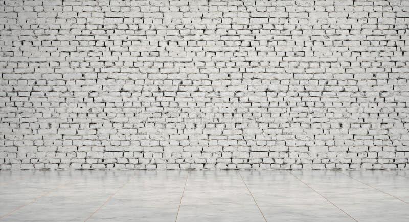 Sitio vacío, pasillo que espera, con el piso blanco del pared de ladrillo y de mármol, representación 3d fotos de archivo