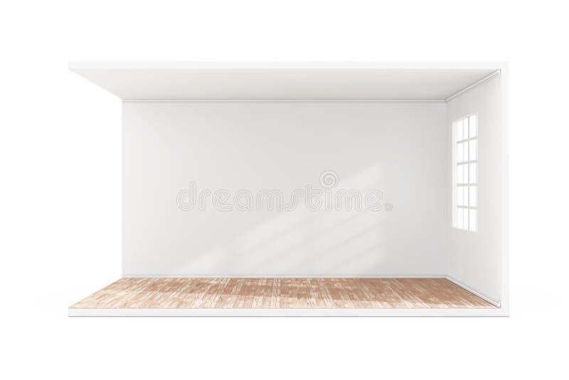 Sitio vac?o interior con la ventana grande y el piso de entarimado de madera representaci?n 3d stock de ilustración