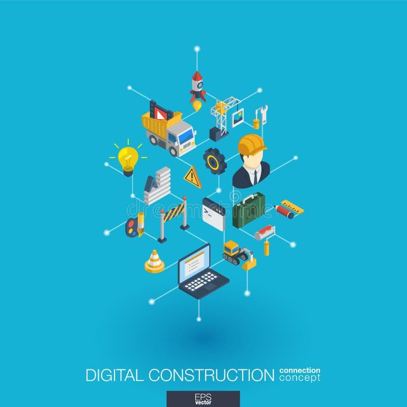 Sitio web bajo iconos integrados del web 3d de la construcción Concepto isométrico de la red de Digitaces libre illustration