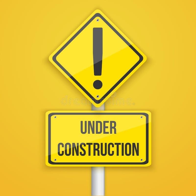 Sitio web bajo señal de tráfico de la construcción El venir pronto fondo Tem stock de ilustración