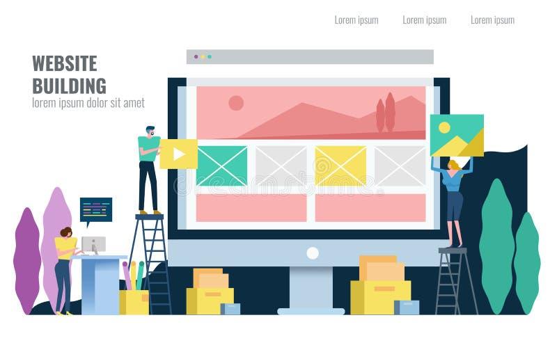 Sitio web constructivo de la gente stock de ilustración