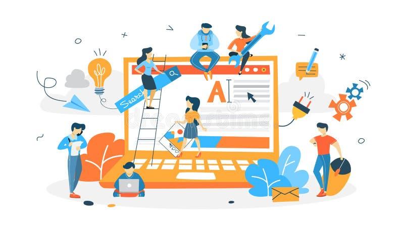 Sitio web constructivo de la gente ilustración del vector