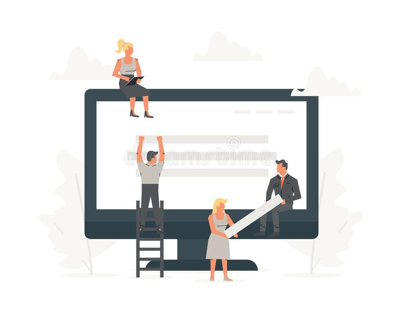 Sitio web constructivo de la pequeña gente de la oficina con los bloques en el navegador El hombre de negocios es construcción al libre illustration