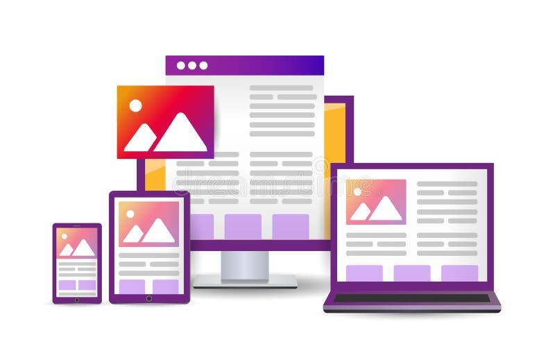 Sitio web de diseño de ilustración de Bright Flat. plataforma cruzada conceptual stock de ilustración