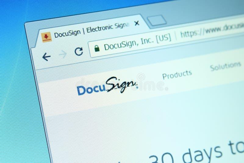 Sitio web de la compañía de DocuSign fotos de archivo