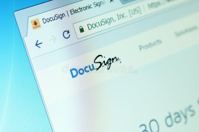 Sitio web de la compañía de DocuSign fotos de archivo libres de regalías