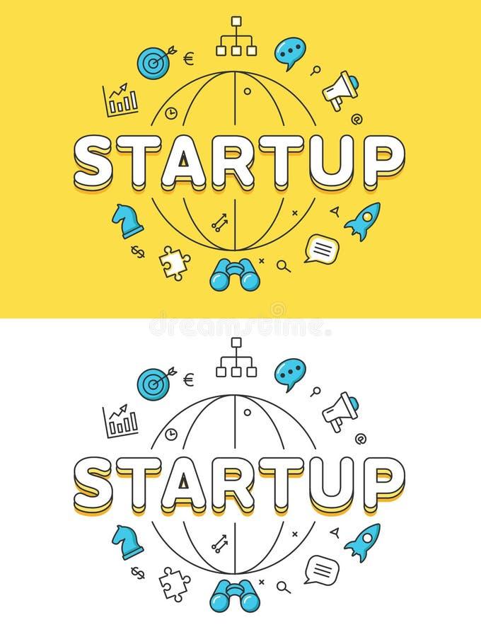 Sitio web DE LANZAMIENTO del globo del éxito empresarial plano linear libre illustration