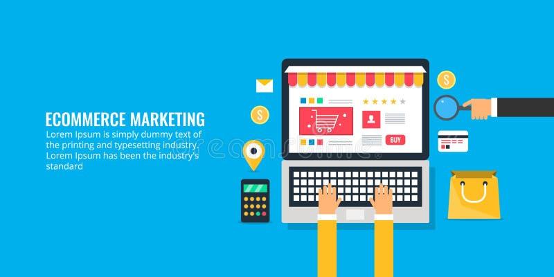 Sitio web del comercio electrónico de la ojeada del usuario, estrategia de marketing para el comercio electrónico porta, compras  stock de ilustración