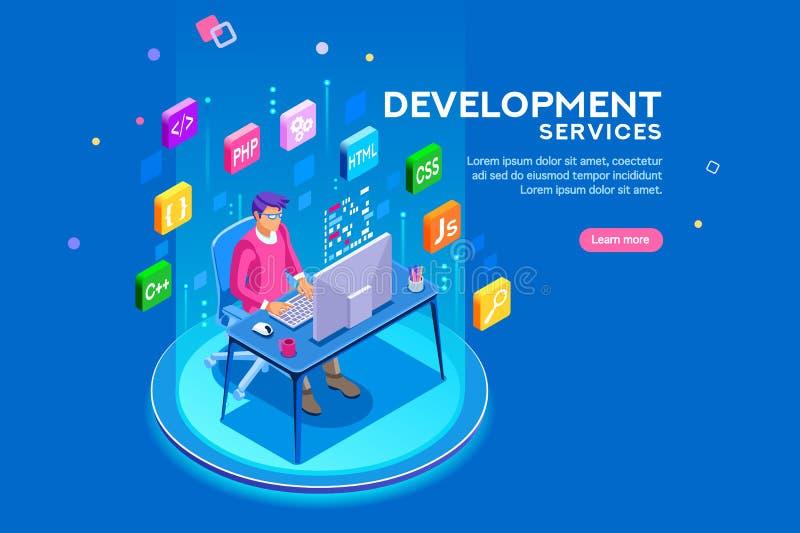 Sitio web del desarrollador del programa del desarrollador y del desarrollo de programas stock de ilustración