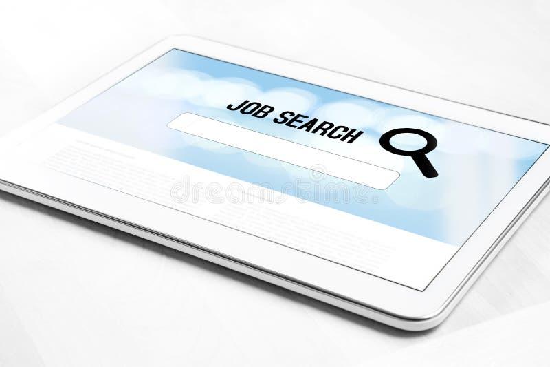 Sitio web del Search Engine del trabajo en línea en la pantalla de la tableta fotos de archivo
