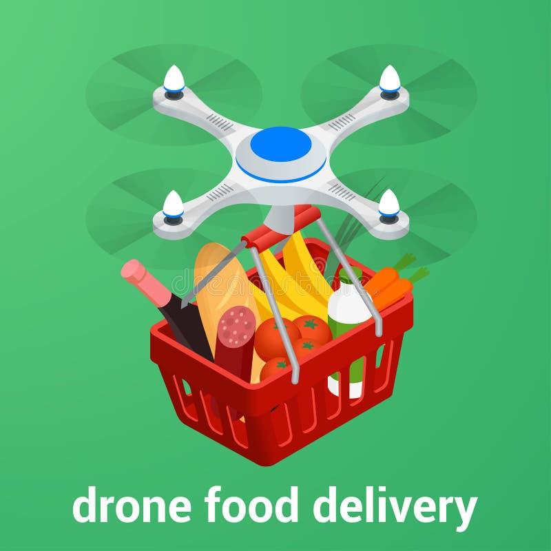 Sitio web en línea de la comida de la orden del concepto del comercio electrónico Comida sana de la entrega del abejón libre illustration