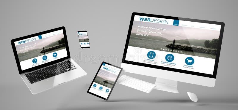 sitio web responsivo del diseño web de los dispositivos del vuelo imagen de archivo libre de regalías