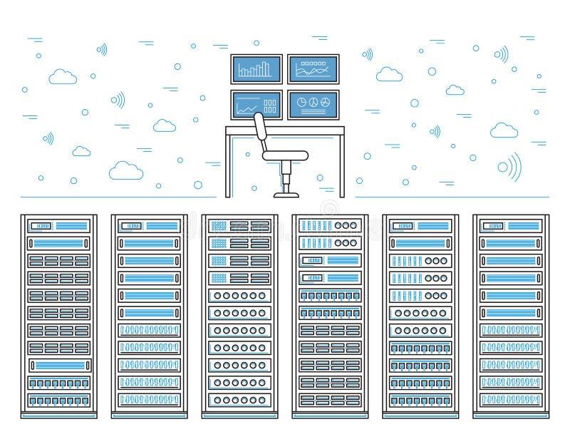 Sitio y centro de datos del servidor ilustración del vector