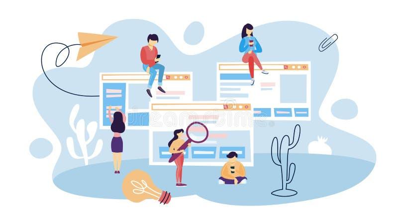 Sitios web del uso de la gente stock de ilustración