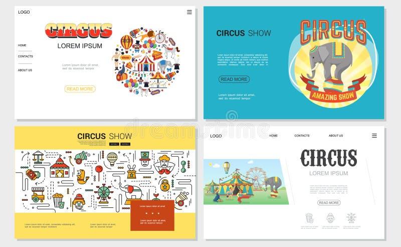 Sitios web planos del circo fijados stock de ilustración