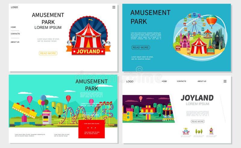 Sitios web planos del parque de atracciones fijados libre illustration