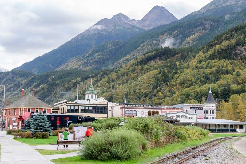 Sitios y opiniones del paisaje en Skagway Alaska foto de archivo libre de regalías