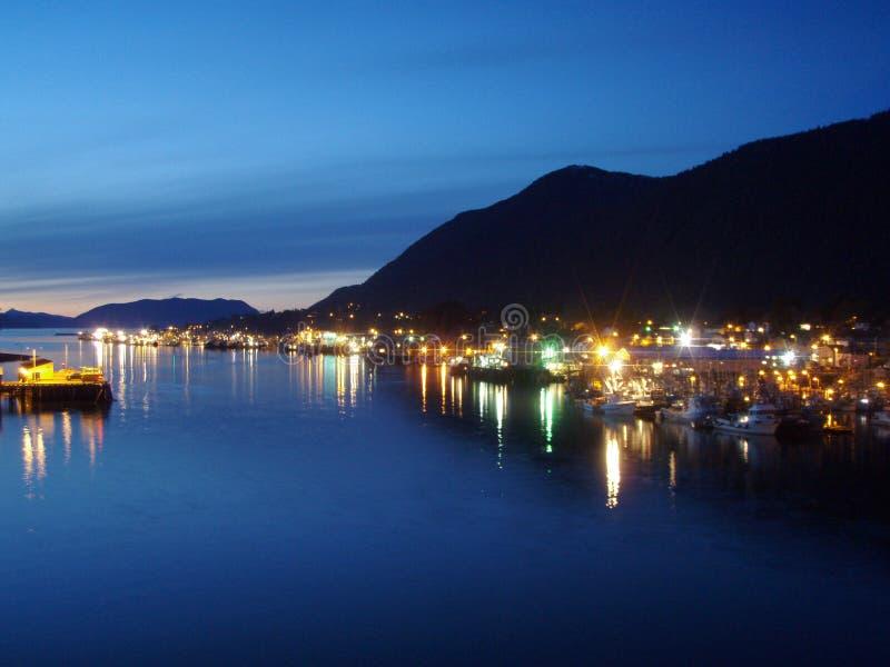 Sitka Harbor at Dusk. Night scene overlooking fishing boat fleet at Sitka Harbor Alaska royalty free stock photography