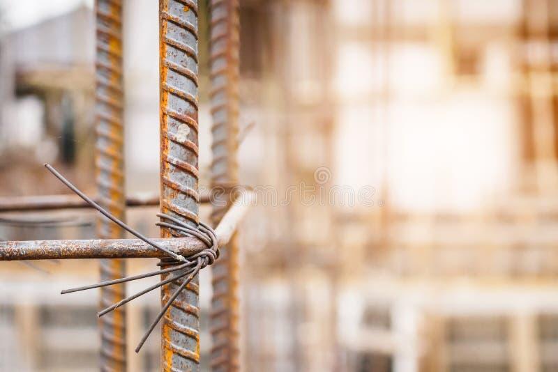 Sito della costruzione di edifici della Camera con l'acciaio del tondo per cemento armato fotografia stock libera da diritti