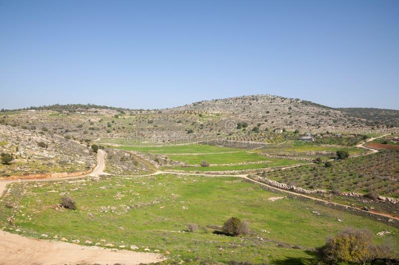 Sito di Yodfat antico, monticello di Yodfat fotografie stock
