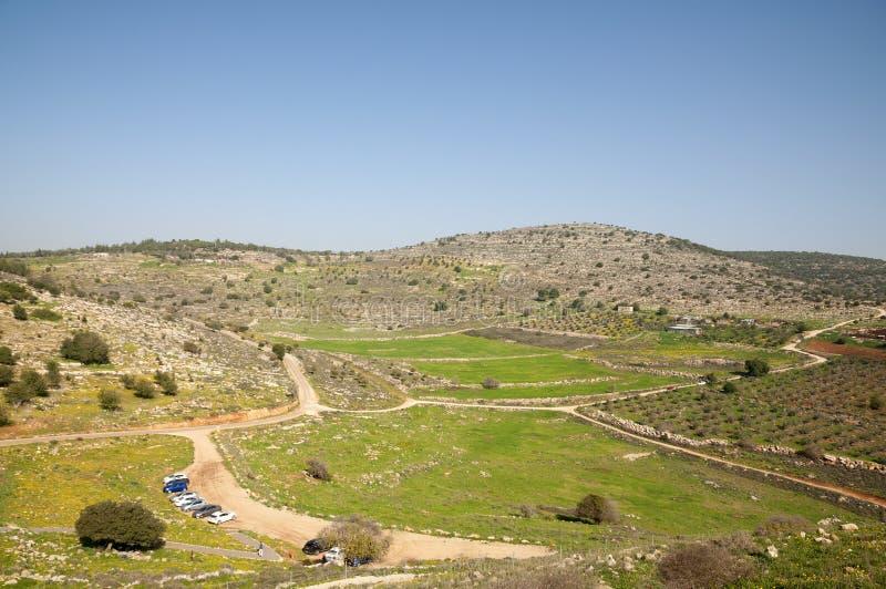 Sito di Yodfat antico, monticello di Yodfat immagini stock
