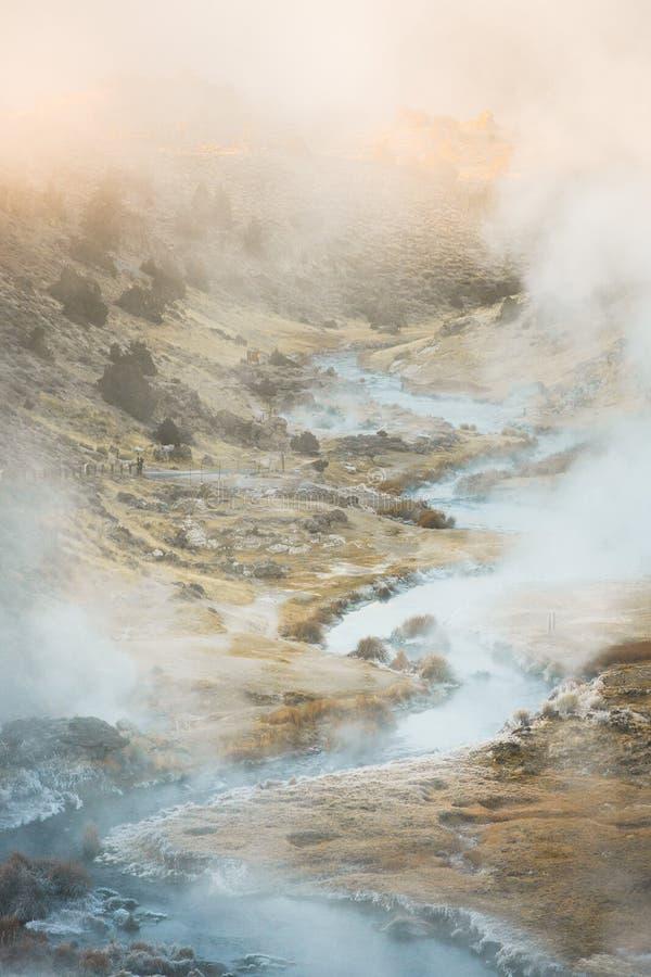Sito geologico d'ebollizione dell'insenatura calda vulcanica vicino ai laghi mastodontici su una mattina di inverno fotografie stock