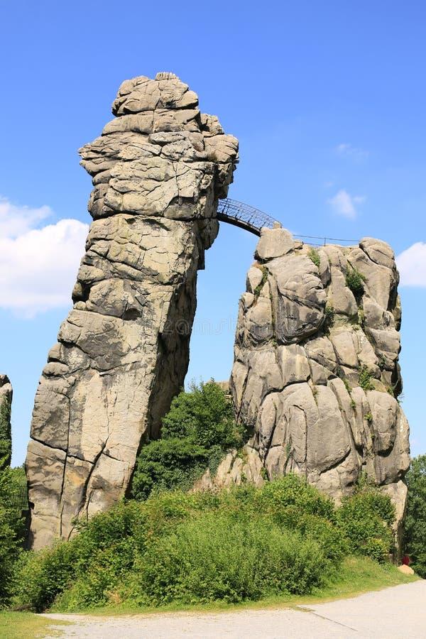 Sito mistico in Vestfalia, Externsteine, Germania fotografia stock libera da diritti