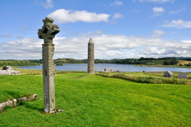 Sito monastico dell'isola di Devenish, Irlanda del Nord fotografia stock libera da diritti