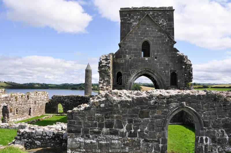 Sito monastico dell'isola di Devenish, Irlanda del Nord immagini stock