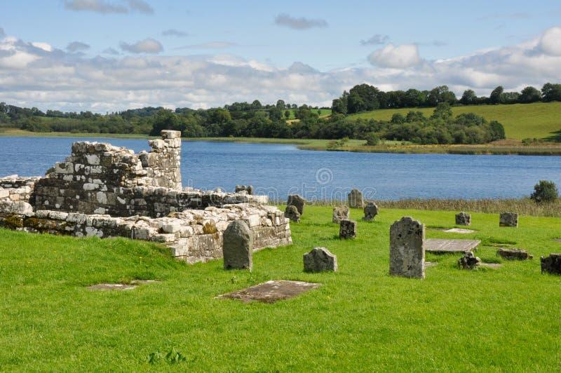 Sito monastico dell'isola di Devenish, Irlanda del Nord immagine stock libera da diritti