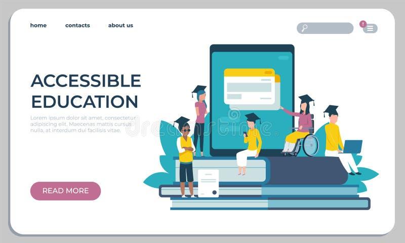 Sito Web accessibile di istruzione Apprendimento online per il concetto dei disabili Studente virtuale dell'archivio dell'illustr illustrazione vettoriale
