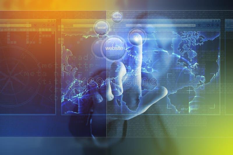 Sito Web che costruisce schermo virtuale illustrazione di stock