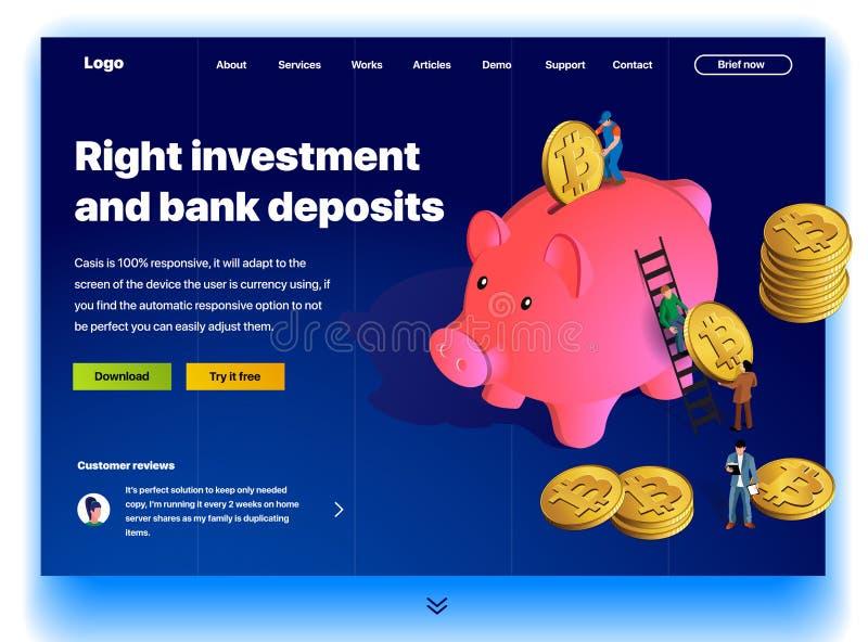 Sito Web che fornisce il servizio di giusto investimento e dei depositi bancari illustrazione vettoriale