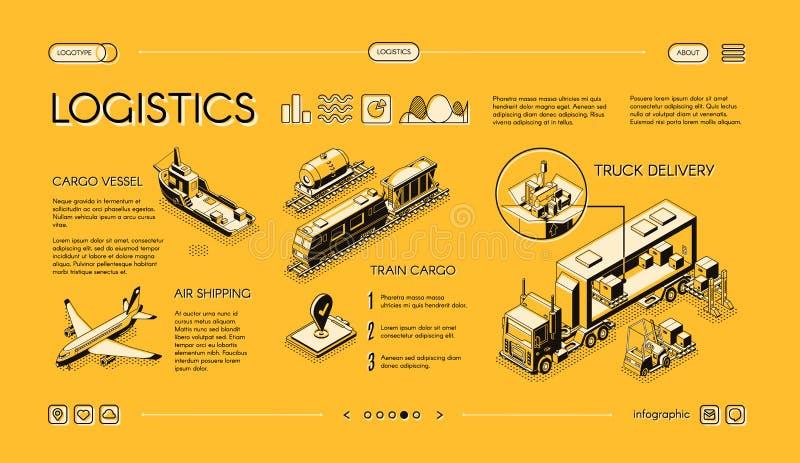 Sito Web commerciale di vettore di servizio di trasporto del carico illustrazione di stock