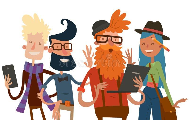 Sito Web del ritratto del gruppo della gente del gruppo di affari illustrazione di stock